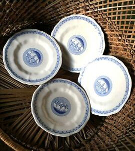 Vietri Italian Set 4 Desert Design Salad Bowls Plates Blue & White Tree Motif