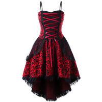 US Plus Size Women Steampunk Lace Up High Low Lace Evening Party Corset Dress