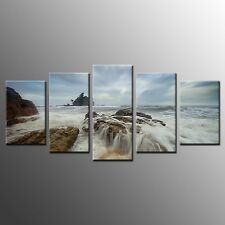Landscape Wall Art for Bedroom Beach Waves Picture Canvas Print-5pcs-No Frame