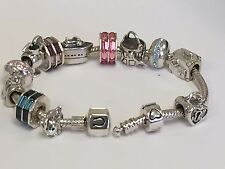 "Chamilia Silver Snap Charm Bracelet with 13  Chamilia  Charms  7""  $640 retail"