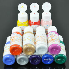12 Color Profesional Nail Art Airbrush Paint Set Kit Uña polaco 109 N
