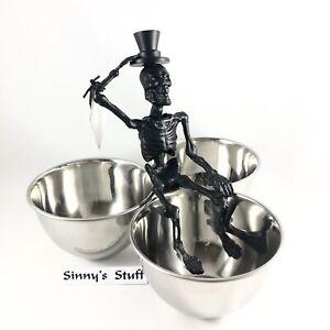 Metal Skeleton Triple Condiment Bowl Server Walking Dead Halloween Snack Dish