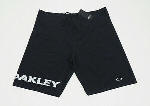 New Oakley Pop Black Performance Fit Swim Board Shorts Mens 38