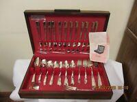 Vintage Prestige 84 Pcs Grenoble Pattern Silver Plate Flatware W/Storage Box