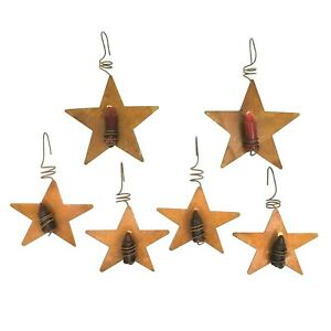 Cottage Decor Set Of 6 Tin Star Candle Holders Country Schmid Tree Star Candles
