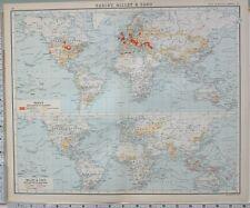 1906 Carte Monde Commerce Orge Millet & Sago Production Lignes De Export