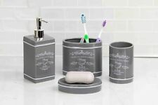 Home Basics NEW Grey Paris Collection 4 Piece Bathroom Accessory Set - BA41274