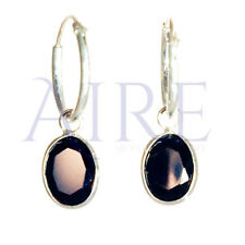 925 Sterling Silver Small Sleeper Style Hoop Earrings with Black Oval Stone