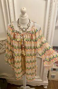 Boutique New Chevron Beaded Rainbow Boho Tassel Ibiza Sartoria Style Top 10-14