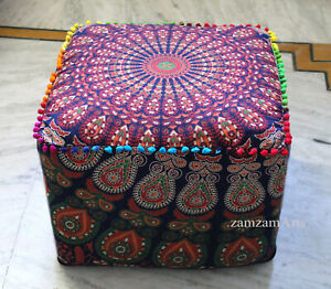 "Indian 22"" Square Ottoman Pouf Cover Floor Decorative Footstool Cushion Covers"