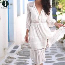 Women Boho Long Sleeve Lace Crochet Beach Holiday Evening Party Loose Maxi Dress