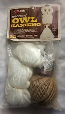 "Vtg Fibre Craft Macrame' Owl Hanging Kit Sealed New # 2129 White 24"""