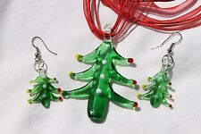 Christams Tree Lampwork  Earring & Necklace Costume Jewelry Set