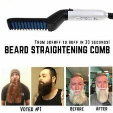Men's Beard Electric Quick Straightener Heated Brush Hair Comb Curler Show Cap