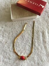 Collar Necklace With Red Stone Vintage Trifari Gold Tone Choker