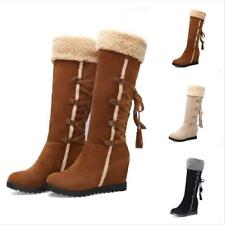Women's Fur Trim Lace Up Wedge High Heel Mid-Calf Boots Suede Snow Shoes Pull On
