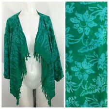 Wild Thing Wild Woman One Size Kimono Hawaiian Fringe Boho Rayon Pockets Green