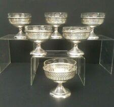 6 Sterling Sherbet Dessert Cups Bowls 257.5g Etched Glass Liners Vintage Set