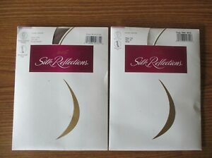 2 WOMENS HANES SILK REFLECTIONS NON CONTROL PANTYHOSE SZ EF BARELY THERE & WHITE