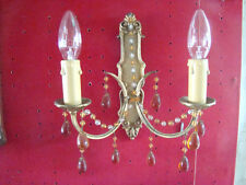 applique bronze avec guirlandes de perles équipée de 2 lampes époque début 20éme
