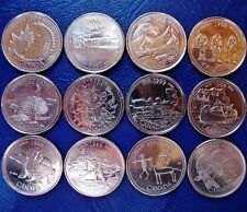 12 Canada Year 1999 Commemorative 25 Cents - Complete Set of 1 per Month