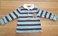 Boys toddlers Blue & Brown Longsleeve Poloshirt Age 12 Month Top Cherokee