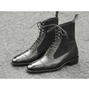 Handmade Mens Brogue Dress Boots, Men Lace up Leather Suede Ankle Boots