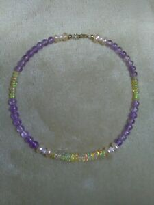 9k 9ct Gold Opal Pearl and Amethyst Anklet