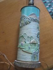 CHINESE CERAMIC WALL  ROLLER TABLE LAMP Asian CHINOIS Multicolor Piece vintage