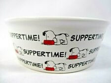 PEANUTS Classic Snoopy Suppertime Round Pet Bowl Dog Cat Stoneware White Black