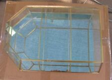 New Glass Brass CURIO CABINET TABLE TOP display case w two shelves