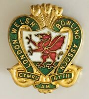 London Welsh Bowling Association Club Badge Pin Wales Bowls Rare Vintage (L8)