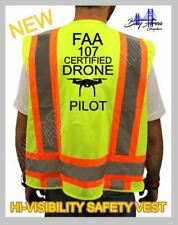 """FAA 107 CERTIFIED DRONE  PILOT HIGH VISIBILITY YELLOW  VEST 2""""REFLECTIVE LINES"""