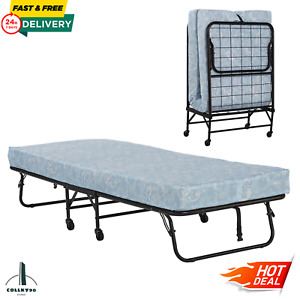 "Twin Folding Bed Cot 4"" Foam Mattress Guest Roll Away Camping Portable Sleeper"