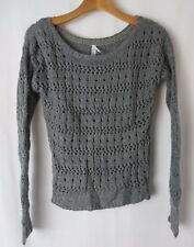 Aeropostale Open Weave Sweater Pull Over Gray w Glitter Thread XS  #5743