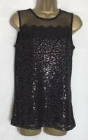 Dorothy Perkins Black Jersey Lined Sequin Lace Sleeveless Top Size 12 New
