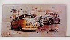 """Plaque Métal Tôlée Vintage """"Bus et Cox VW Route 66"""" 15 X 30 cm (Immat) Neuf"""