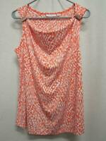 NEW Susan Graver Embellished Sleeveless Tank Top Shirt Orange White Womens S
