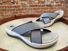 Clarks Cloud Steppers Navy Blue Arla Elin Cross Strap Slide Sandals 9 Sale