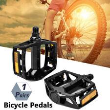 "Bicycle Pedals Metal Alloy Flat Platform 9/16"" Pedal Reflective Reflectors Sale"