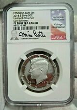2018-S Proof JFK Half Dollar FDI. NGC PF70 Ultra Cameo. Signed - Mike Castle