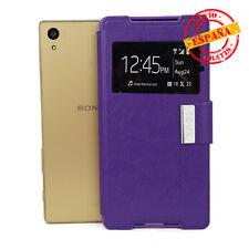 Funda Sony E6603 Xperia Z5 tapa tipo libro gel soporte y ventana color violeta