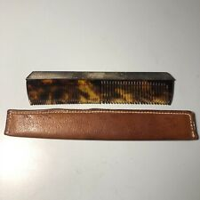 Beaitful Sterling Silver and Faux Tortoise Shell Comb with Leather Sheath Mcmann