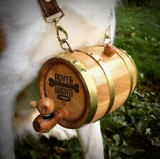 Rover Hangover - St. Bernard Dog Pet Oak Barrel with Hoops & Leather Collar