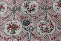 Doll Scale Toile French Antique Bows & Baskets Cotton Textile Fabric c1918