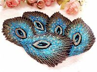 10pcs Embroidered Blue Peacock Feathers iron on Patch not Sewing on Applique W01