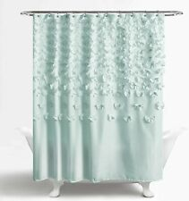 Lush Decor Lucia Shower Curtain - Fabric, Ruched, Floral, Textured Shabby Chic,