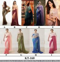Bollywood Party Wear Shaded Sequin Saree Womens Multi Color Wedding Silk Sari