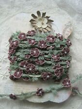 Vintage Style Purple Velvet Flower With Green Leaf Trim