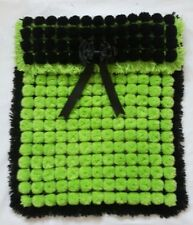 BLACK AND LIME GREEN POM POM BABY BOY GIRL BLANKET WITH REMOVABLE TRIPLE BOW